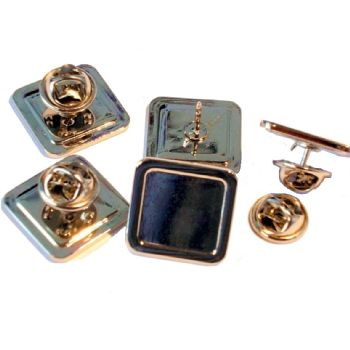 Superior Badge Blank square 16mm silver clutch fitting